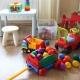 Children room interior with a lot of multicolored toys,