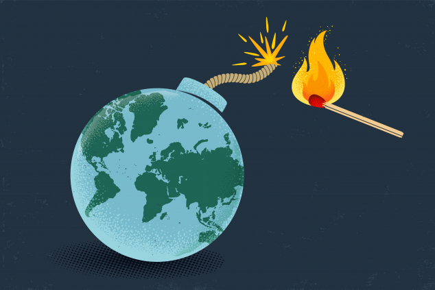 Vector vintage poster of a bomb with World map and match in fire. Earth like bomb with match in fire.